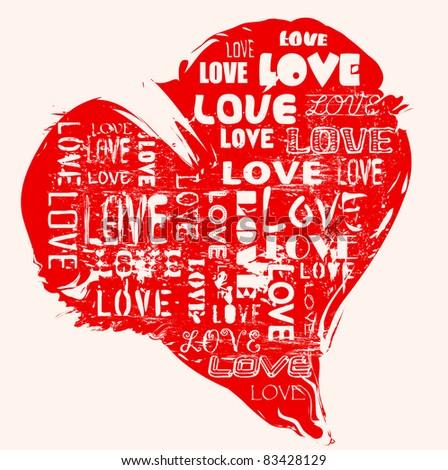love concept, heart, grungy style, vector - stock vector