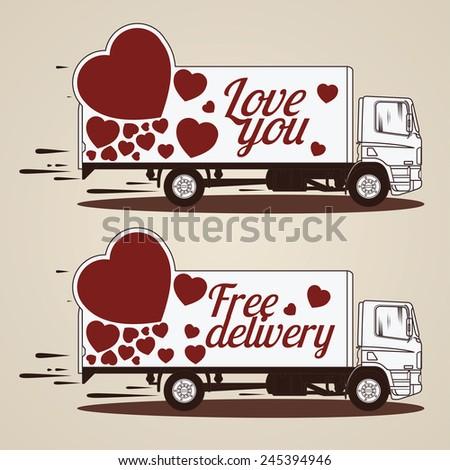 Love Concept of Trucks - stock vector