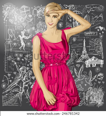 Love concept. Sale concept. Vector surprised blonde in pink dress against love story elements background - stock vector