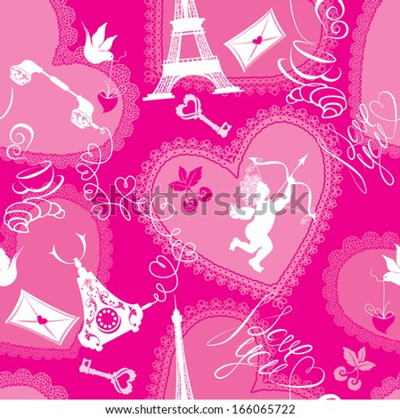 Love concept - seamless pattern with lace hearts, cup of coffee, croissant, angel, effel tower, retro phone and calligraphic text I love you. Valentine`s Day pink background - stock vector