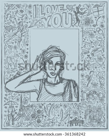 Love concept. Vector Sketch, comics style female overhearing something with her ear and hand, very surprised, against background with love story elements - stock vector