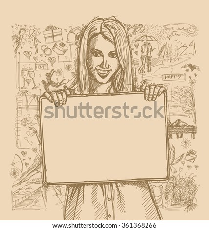 Love concept. Vector Sketch, comics style happy business woman holding blank white card in her hands, against background with love story elements