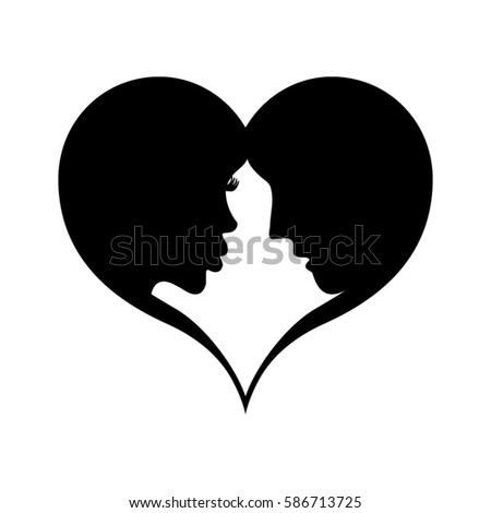 Love Couple Heart Frame Silhouette Isolated Stock Vector 586713725 ...