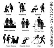 Love Couple Marriage Problem difficulty Stick Figure Pictogram Icon Cliparts - stock photo