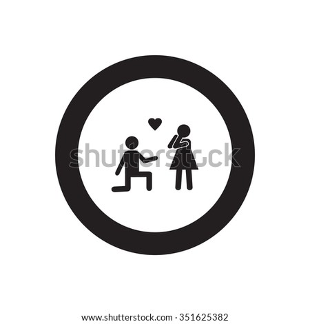Love couple marriage proposal vector icon