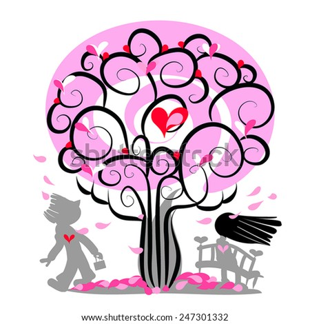Love couple meet. First date illustration.Pink tree with hearts, petals  fall, brunette girl  and man looking at her. Fall in love. Vector silhouettes. Romantic Valentine day card. Eps 10. On white. - stock vector