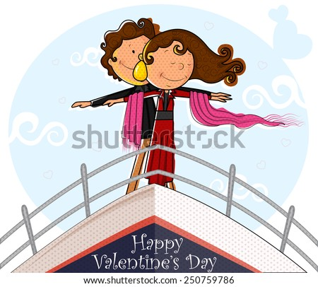 Love couple on ship deck in romantic pose in vector - stock vector