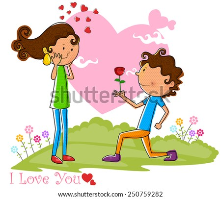 Love couple proposing with rose in vector - stock vector
