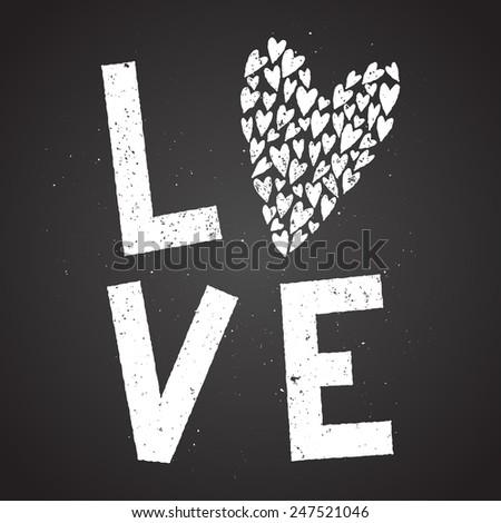love cute hipster doodle chalk on blackboard - stock vector