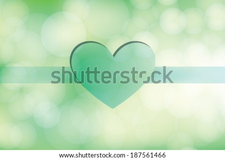 Love Day Heart on Green Background - stock vector