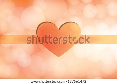 Love Day Heart on Orange Background - stock vector