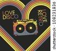 Love Disco, Love Retro. Vintage poster design template, vector, EPS8 - stock vector