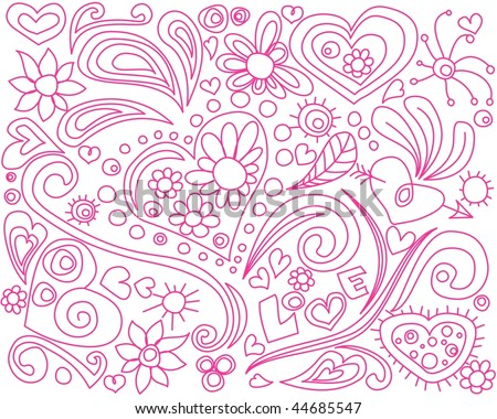 Love doodle. For color version click on my name. - stock vector