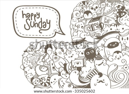 Love Doodle: Hand drawn love doodle with word happy sunday