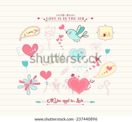 Love doodle set - stock vector