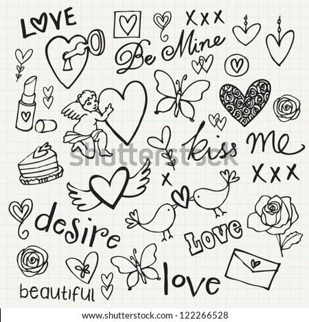 Love Doodle Vector Set Stock Vector 122266528 - Shutterstock