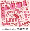 love doodles, text.