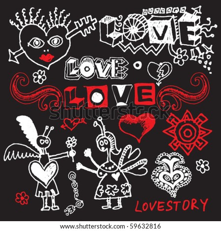 love doodles, vector design elements - stock vector