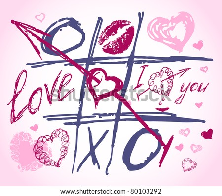 love drawing doodles, letter text. Set icon - hand drawn hearts, love, kiss, lipstick, heart shape, shape, stamp - stock vector