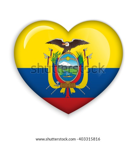 Love Ecuador symbol. Heart flag icon. Vector illustration. - stock vector