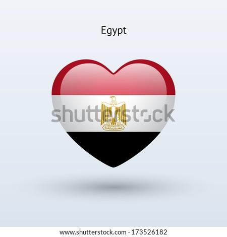 Love Egypt symbol. Heart flag icon. Vector illustration. - stock vector