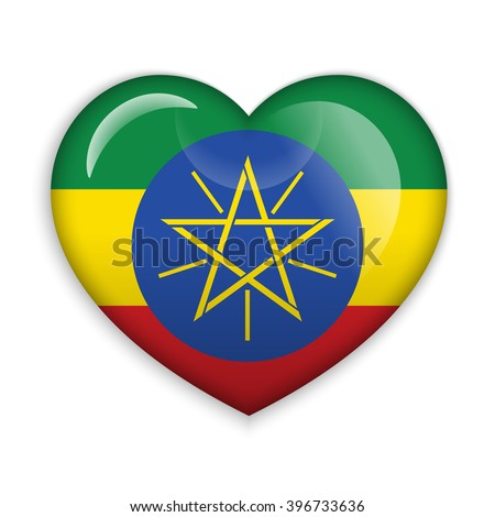 Love Ethiopia symbol. Heart flag icon. Vector illustration.