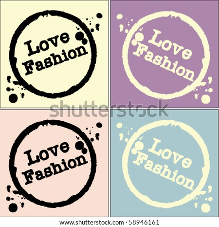 love fashion stamp - stock vector