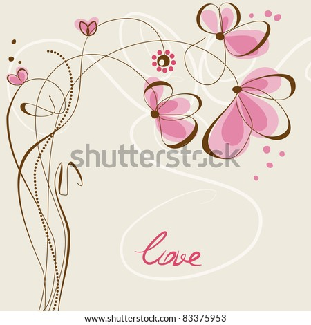 Love floral card - stock vector