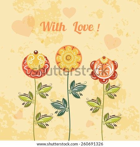 Love flower card Russian style for congratulations  birthday, wedding,  declaration of love  - stock vector