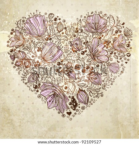 Love. Flower heart for wedding or Valentines day design. - stock vector