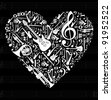 Love for music concept illustration. High contrast musical instruments icon set in heart shape background. Vector file available. - stock vector
