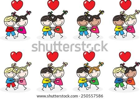 love freedom mixed ethnic children - stock vector