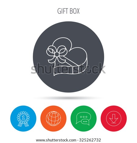 Love gift box icon. Heart with bow sign. Globe, download and speech bubble buttons. Winner award symbol. Vector - stock vector