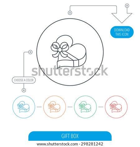 Love gift box icon. Heart with bow sign. Line circle buttons. Download arrow symbol. Vector - stock vector