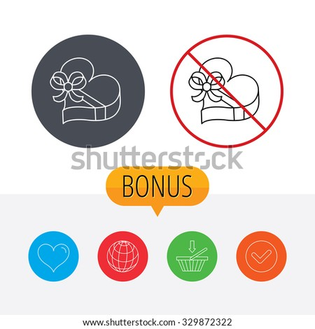 Love gift box icon. Heart with bow sign. Shopping cart, globe, heart and check bonus buttons. Ban or stop prohibition symbol. - stock vector