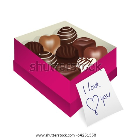 Love gift, delicious dark, milk and white chocolate pralines in box with a note - stock vector