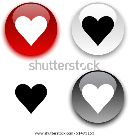 Love glossy round vector buttons. - stock vector