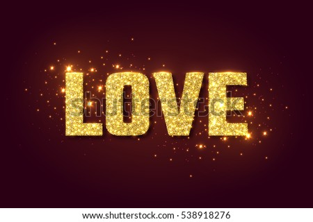 Love golden glow background for Valentines day. Vector illustration.