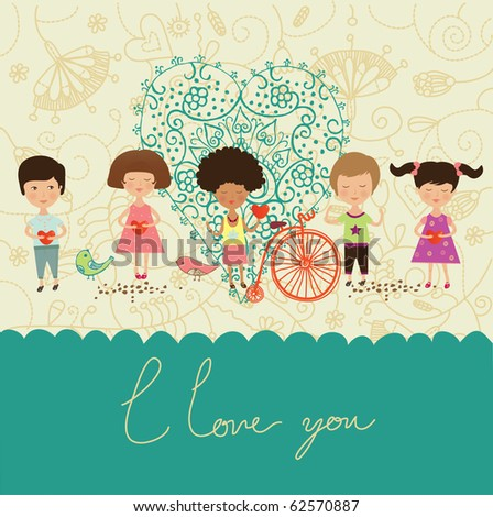 love greeting card with kids - stock vector