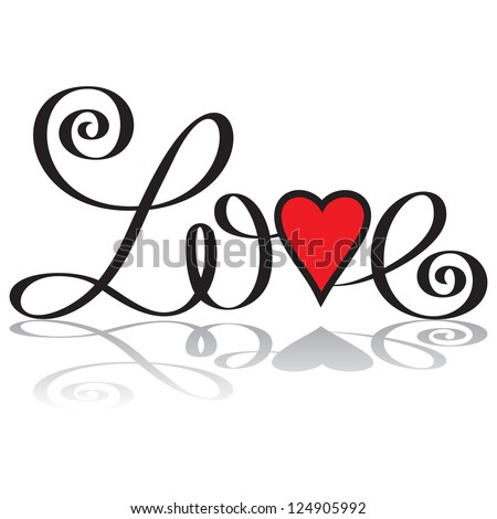 love hand lettering handmade calligraphy, vector (eps8) - stock vector