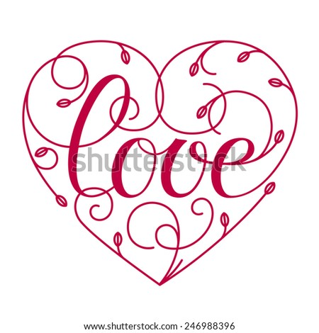 Love hand lettering. Valentine's day greeting card. Vector illustration. - stock vector
