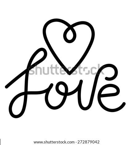 Love handwritten lettering. Type design. Heart symbol, vector illustration - stock vector