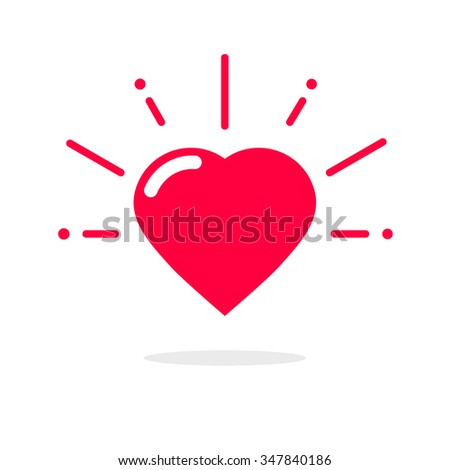 Love heart cheering red vector illustration, healthy heart beating logo flat like icon, happy valentine emblem, passion shape sign, sweet amour symbol sticker design isolated on white, simple ribbon - stock vector