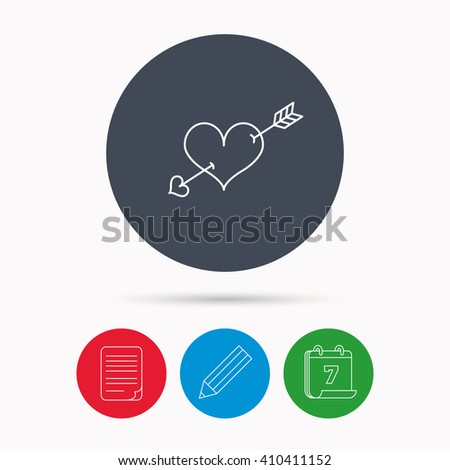 Love heart icon. Amour arrow sign. Calendar, pencil or edit and document file signs. Vector - stock vector