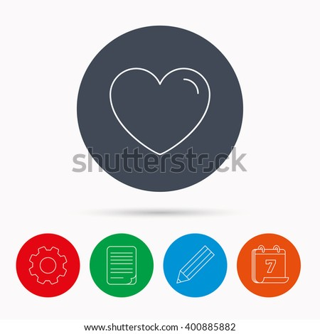 Love heart icon. Life sign. Like symbol. Calendar, cogwheel, document file and pencil icons. - stock vector