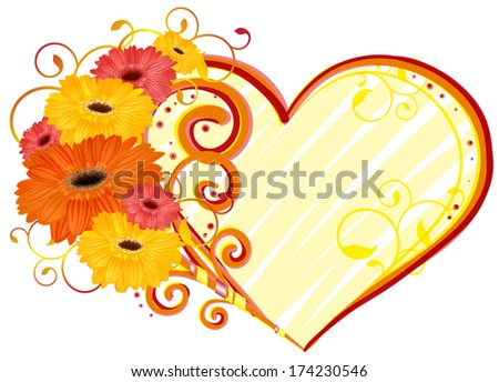 Love, heart of gerbera - stock vector