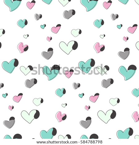 love heart pattern in pink and green color vector romantic print wedding and holiday