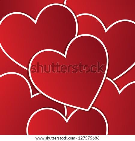 Love heart sticker background/card in vector format. - stock vector