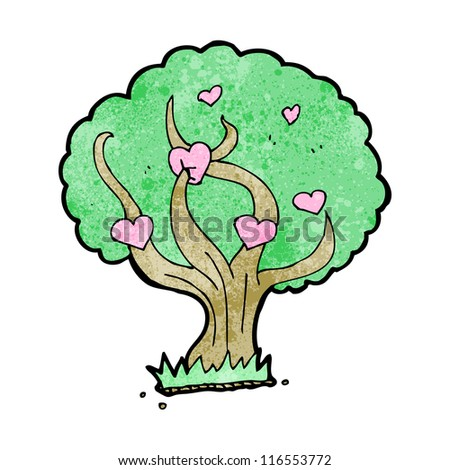 love heart tree cartoon