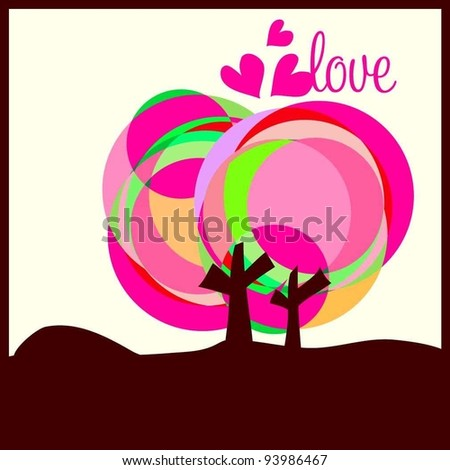 love heart two trees twins lover for Valentine's Day card design